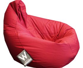 Adult Pear XL Beanbag, Rubber-coated, Raspberry colour, Water Resistant, Removable cover